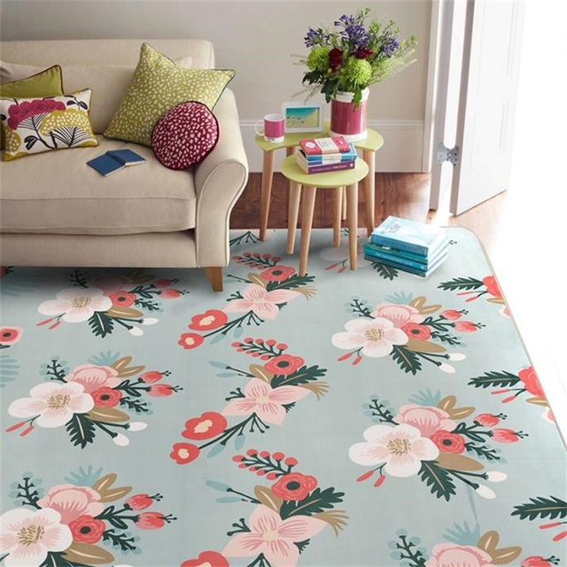 País pastoral floral azul salón dormitorio decorativo Alfombras área ...