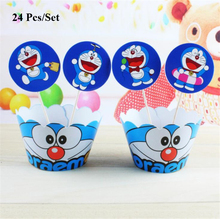 children birthday doraemon cake topper decorating kids party decorations babies cat cupcake wrapper toppers