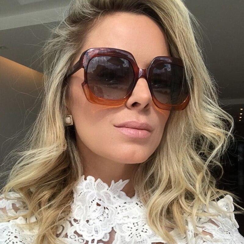 Winla Design de Moda Das Mulheres Óculos De Sol Oversize Moldura Quadrada Óculos  de Sol Clássicos Gradiente Lente Gafas Do Vintage Shades UV400 WL1174 em ... cecf96ef0d
