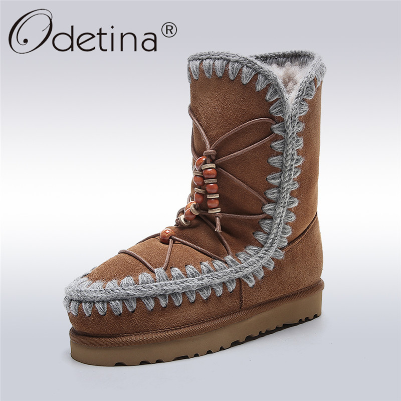Odetina Fashion Genuine Leather Fringe Short Ankle Suede Snow Boots For Women Wool Fur Lined Winter Warm Shoes Tassels Slip On women winter suede colorful ankle boots fringe rivets short boots square heel women fashion winter tassel boots shoes