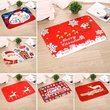 1pc Merry Christmas Doormats Carpet Anti slip Santa Claus Flannel Home Bathroom Door Mat Christmas Decorations Home Party Mats