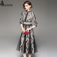 Ladies Elegant Black Dresses 2017 Fashion Autumn 3/4 Sleeve Floral Embroidery Hollow Out Patchwork High Quality Designer Dress