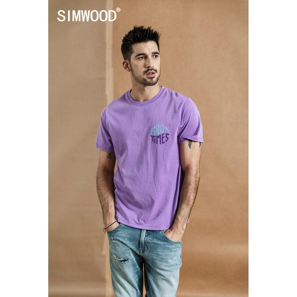 SIMWOOD 2020 Summer New T-Shirt Men Vintage Washed 100% Cotton Tshirt Letter Print Fashion High Quality Plus Size Tops 190132