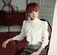 Women Victorian Blouses Black White Blusa Feminina 2015 Summer High Neck Fashion Office Uniform Shirts Chiffon