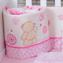 Cartoon Bear Plush/Cotton Baby Bedding Crib Bumpers Safety Baby Kids Bedding Protection Only Bumper 185cm One Piece
