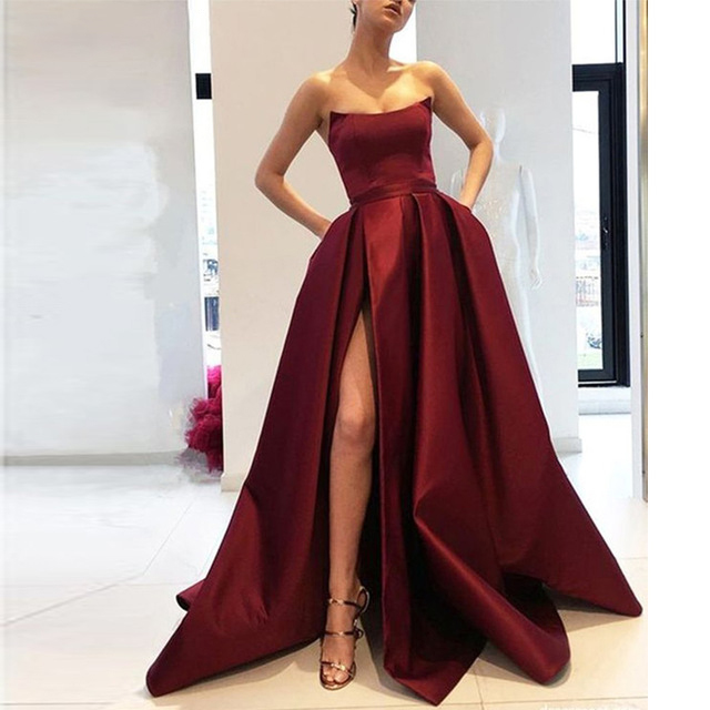 161A Line Strapless High Slit Satin Burgundy Prom Dresses Long Navy Blue Evening Gown with Pockets Formal Dress Women Elegant