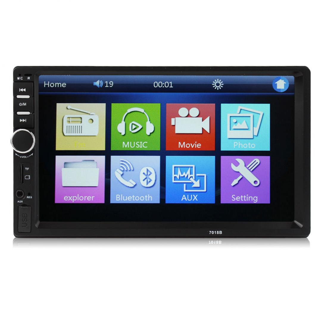 US $71 59 31% OFF|7018B 7 Inch 2 DIN 12V LCD Touch Screen Car Bluetooth  Hands Free Player Audio HD Radio In Dash Stereo MP3 MP5 Player USB-in Car