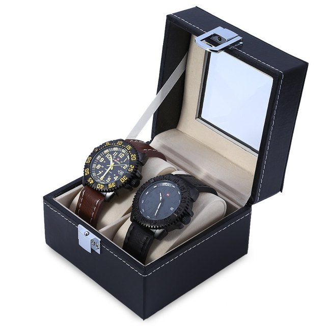 2 Gids PU Leather Watch Case Jewelry Display Boxin Watch Boxes from