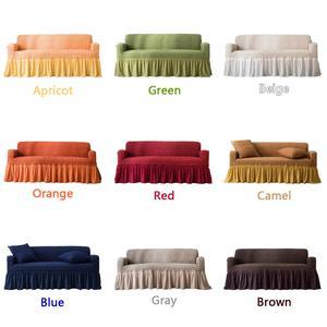 Image 3 - NEUE Elastische Sofa Abdeckung 3D Plaid Schutzhülle Universal Möbel Abdeckungen mit Elegante Rock für Wohnzimmer Sessel Couch Sofa