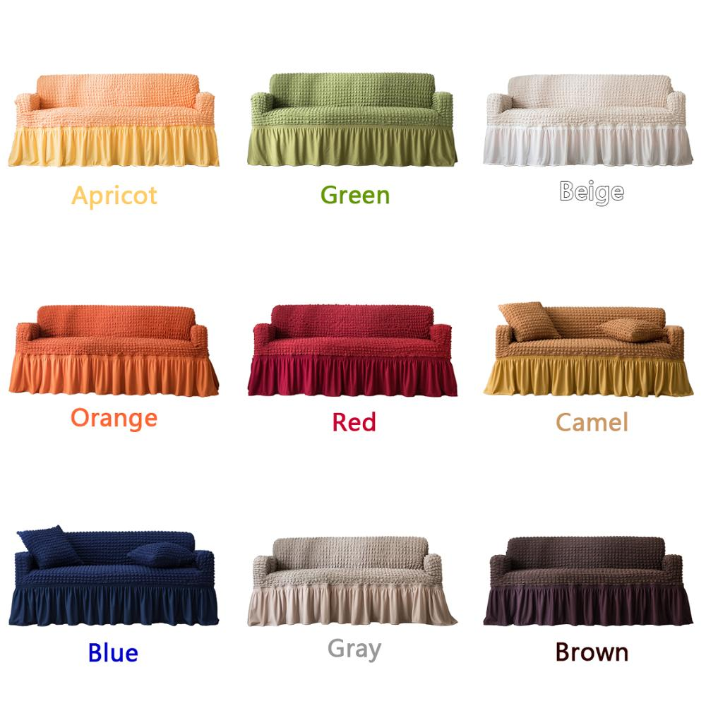 Elastic Sofa Cover with 3D Plaid and Elegant Skirt Slipcover for Universal Sofa of Home Hotel and Office 2