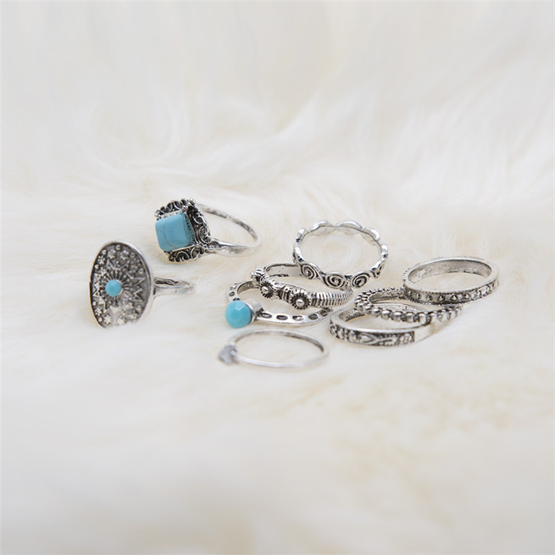 ZIVangela Geometric Stone Oval Midi Ring Sets Boho Beach Anillos Finger knuckle Rings for Women Punk Style Jewellery Accessory