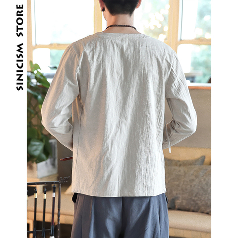 Sinicism Store Men Shirts 2019 Man Solid Belt Shirts Long Sleeve Shirts Casual Slim Fit Male Fashions Chinese Style Clothing Lahore