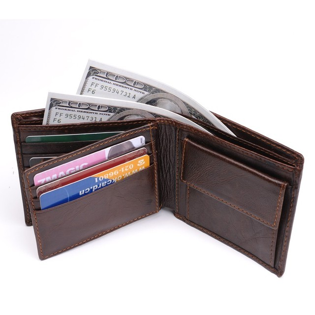 100% Genuine Leather Wallet Men New Brand Purses for men Black Brown Bifold Wallet RFID Blocking Wallets With Gift Box MRF7 2