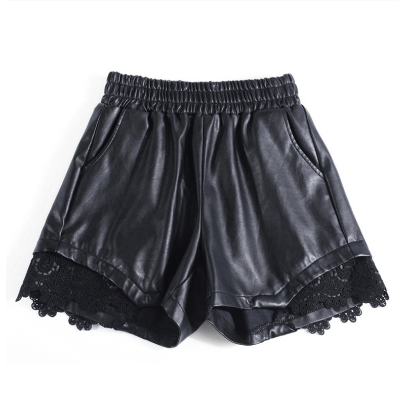 2018 Fashion Winter PU Leather   Shorts   Women Plus Size High Waist   Shorts   Slim Punk Rock Loose Elastic Waist Women Leather   Shorts