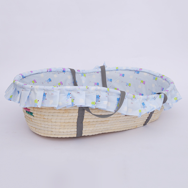 Corn Woven Baby Basket Sleeping Baby Bed Baby Crib Protector For Newborns Room Decoration Portable Outdoor  Bumpers For Newborn