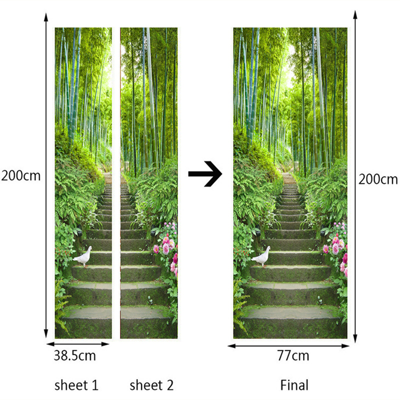 Купить с кэшбэком 3D Wallpaper Green Bamboo Ladder Photo Wall Door Mural Living Room Bedroom Restaurant PVC Self Adhesive Waterproof Wall Covering