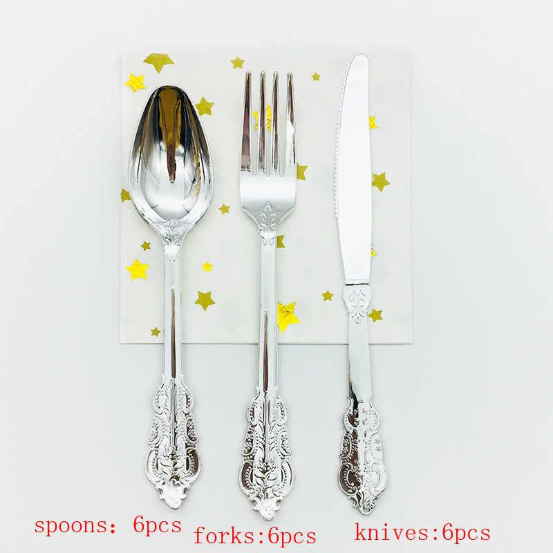 6 комплектов, розовое золото, пластиковый нож, вилка, ложка, роскошный Корт, столовая посуда для свадьбы, дня рождения, торжества, Дня Святого Валентина, вечерние украшения