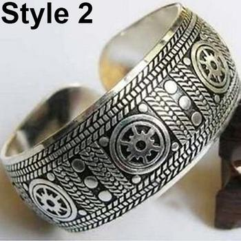 Vintage Tibetan Silver Elephant Carved Open Bangle Cuff Wide Bracelet Jewelry New Chic Vintage