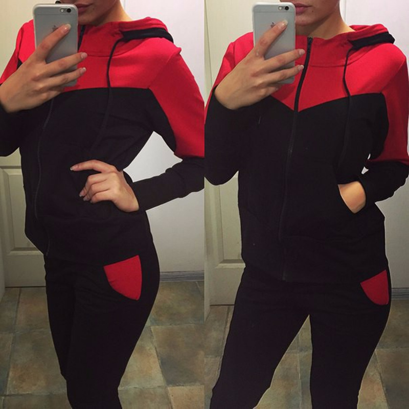 Womens wear 2 piece set women Europe and the United States explosion models stitching sweater leisure suit female