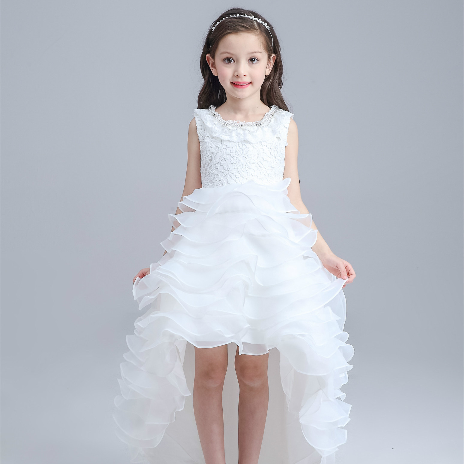 Latest Red Tailed Children Dress Princess Short Front Long Back ...