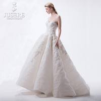JUSERE Box Pleat Inner Crinoline Luxury Beading Crystal Appliqued Floor Length Princess Church Full Puffy New Wedding Dress 2018