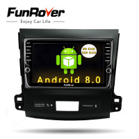 Funrover IPS 8 Android8.0 Car dvd GPS Player Radio for Mitsubishi Outlander 2008 2014 Peugeot 4007 Citroen C Crosser 2din radio