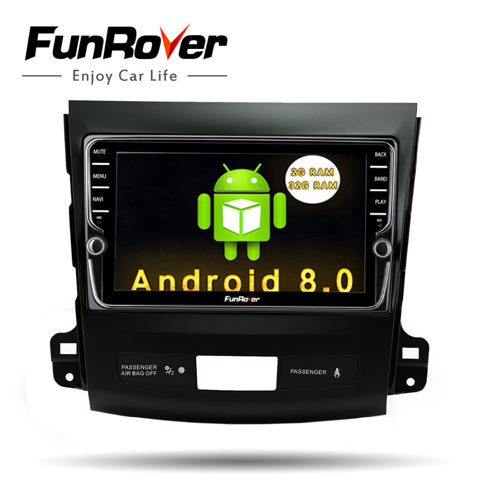 Funrover IPS 8 Android8.0 Car dvd GPS Player Radio for Mitsubishi Outlander 2008-2014 Peugeot 4007 Citroen C-Crosser 2din radio