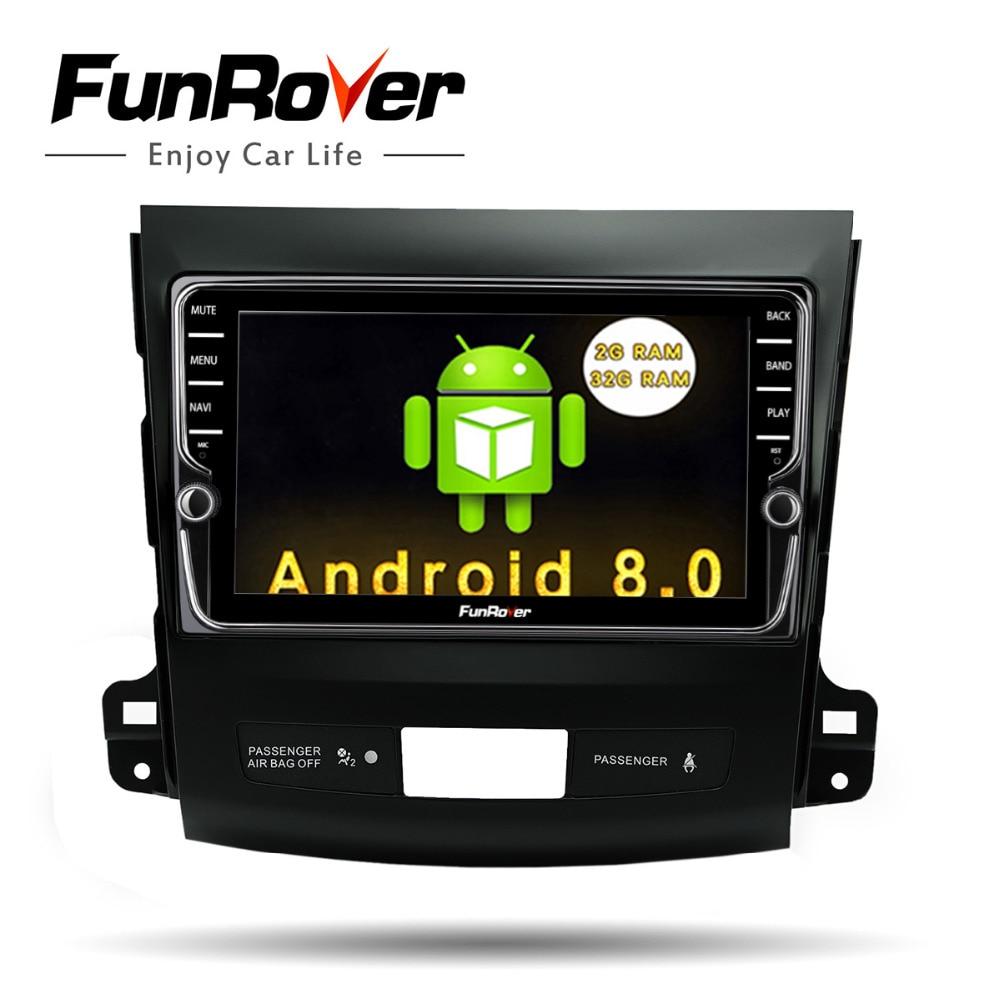 Funrover IPS 8 Android8.0 Car dvd GPS Player Radio for Mitsubishi Outlander 2008-2014 Peugeot 4007 Citroen C-Crosser 2din radio