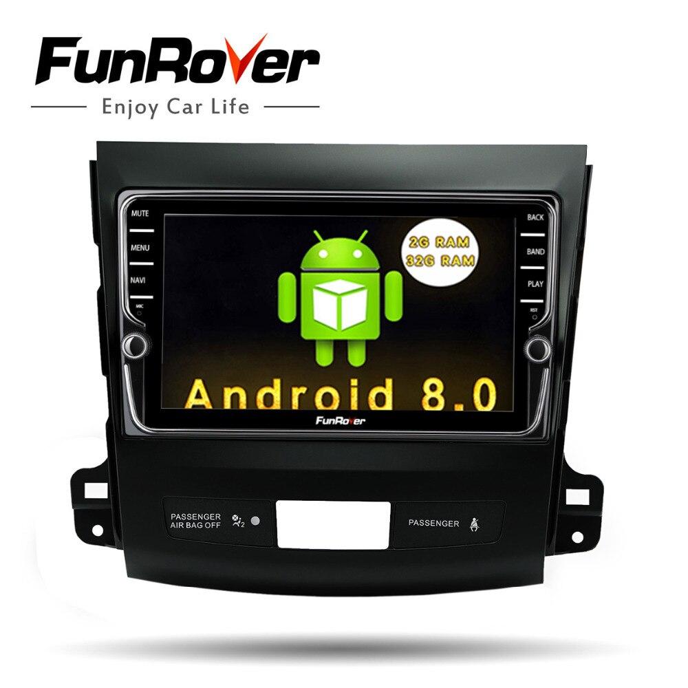 Funrover ips 8 Android8.0 автомобиль dvd gps плеер радио для Mitsubishi Outlander 2014-4007 peugeot 2008 Citroen C-Crosser 2din радио