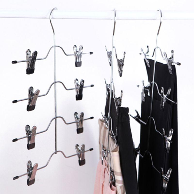 Jupe multifonctionnelle d'agrafe de support de cintre de pantalon d'acier inoxydable de 4 couches avec l'organisateur de stockage de 8 agrafes économisent l'espace