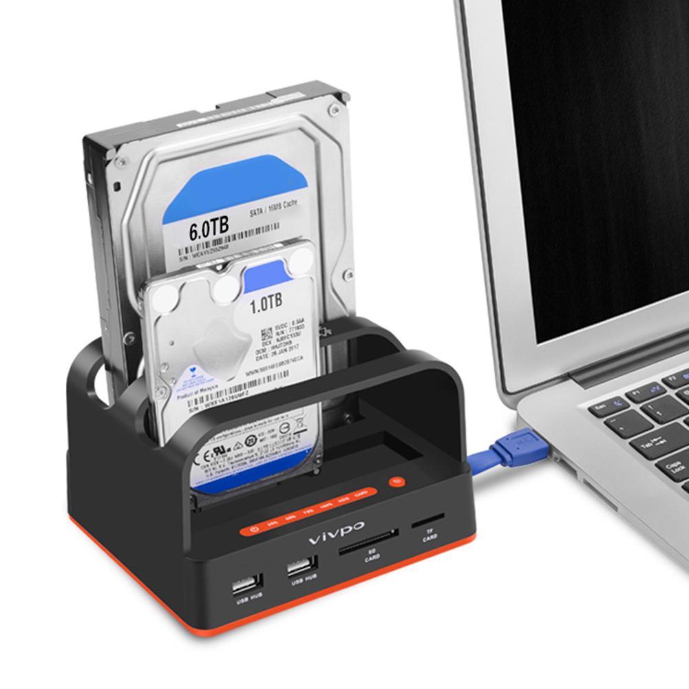 En gros nouvelle double baie USB3.0 2.5/3.5 pouces SATA HDD Dock lecteur de carte de Station d'accueil de disque dur