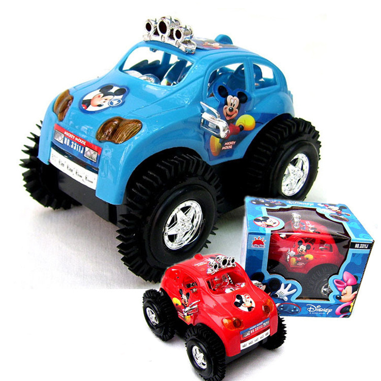 hot sale rolling stunt cars mickey cross country electric car turn over at barrier off