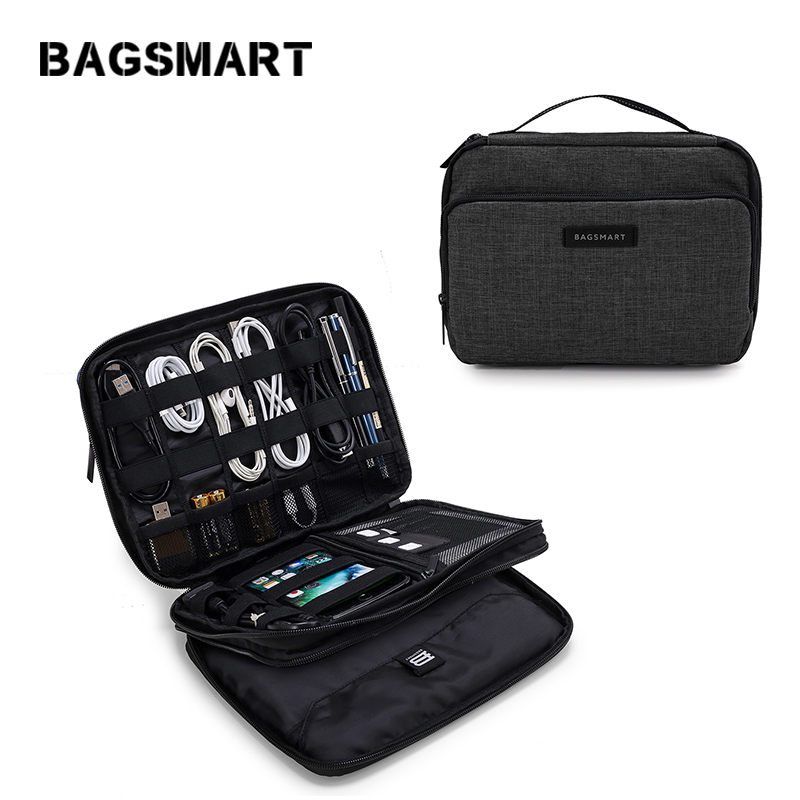 Bagsmart  Travel Organizer Portable Bag Waterproof Travel Electronic Accessory Bag Large Capacity for Electronics Accessories electronics