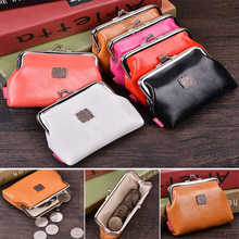 1pcs Women Cute pure color Coin Purse PU Leather Small Clutch Wristlet lady Wallet Girls Change Pocket Pouch Hasp Bag  Keys Case