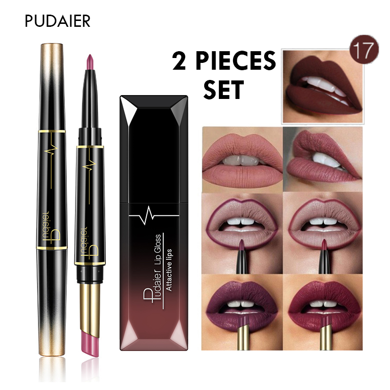 New 2 Pieces <font><b>Lips</b></font> Makeup <font><b>Set</b></font> Double Head <font><b>Matte</b></font> <font><b>Lipstick</b></font> <font><b>Lip</b></font> Liner with Moisturizing <font><b>Lip</b></font> <font><b>Gloss</b></font> <font><b>Lip</b></font> Tint Make Up Kit Nude <font><b>Cosmetic</b></font> image