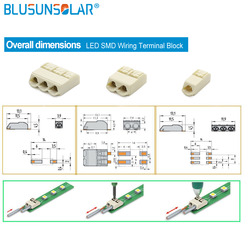 500 pcs lot 2 pin LED SMD Wiring Terminal Block PCB Wire Cable Connector Push in