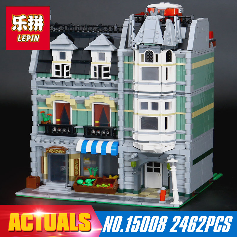 DHL Lepin15008 2462Pcs City Street Green Grocer Model Building Kits Blocks Bricks Compatible Educational toy 10185 Children Gift lepin 02012 city deepwater exploration vessel 60095 building blocks policeman toys children compatible with lego gift kid sets