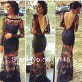 Kim Kardashian Ver Através Lace Manga Comprida Backless Preto Até O Chão vestido Formal Celebridade Vestido de Noite Vestido de 2017