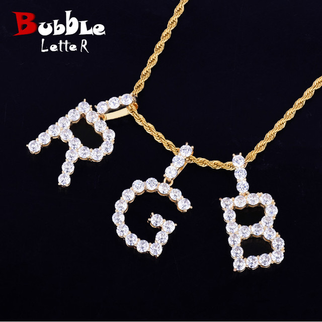 4cm X 2cm Zircon Tennis Letters Necklaces & Pendant Custom Name Charm For Men/Women Gold Silver Hip Hop Jewelry With Rope Chain by Bubble Letter
