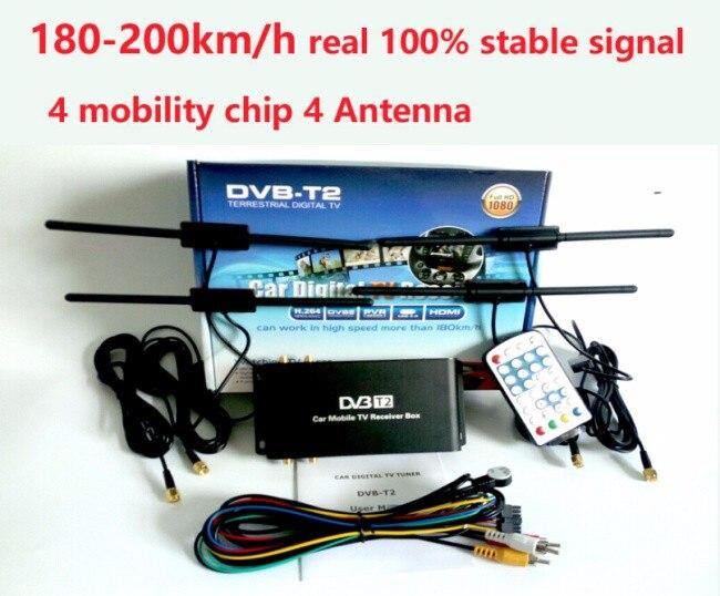Livraison Gratuite 180-200 km/h 4 Antenne DVB T2 Voiture 4 Mobilité puce Numérique De Voiture TV Tuner HD 1080 P DVB-T2 Voiture TV récepteur