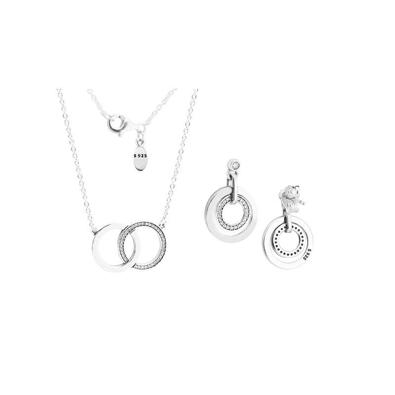 100% Echtem 925 Sterling Silber Kreise Geschenk Schmuck Set Für Frauen Halsketten Ohrringe Feine Schmuck Machen GroßEs Sortiment