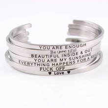 Newest Silver Stainless Steel Engraved Positive Inspirational Quote Cuff Lover Gift Mantra Bracelet Bangle Best Gifts 2017 stainless steel mantra bracelet positive inspirational quote cuff engraved bangle bracelet for women best gift