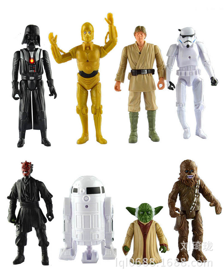 8pcs Star Wars 7 figures toy set with light 2016 New 16cm R2D2 C3PO YODA Han Solo Darth Vader Storm Trooper Chewbacca home decor