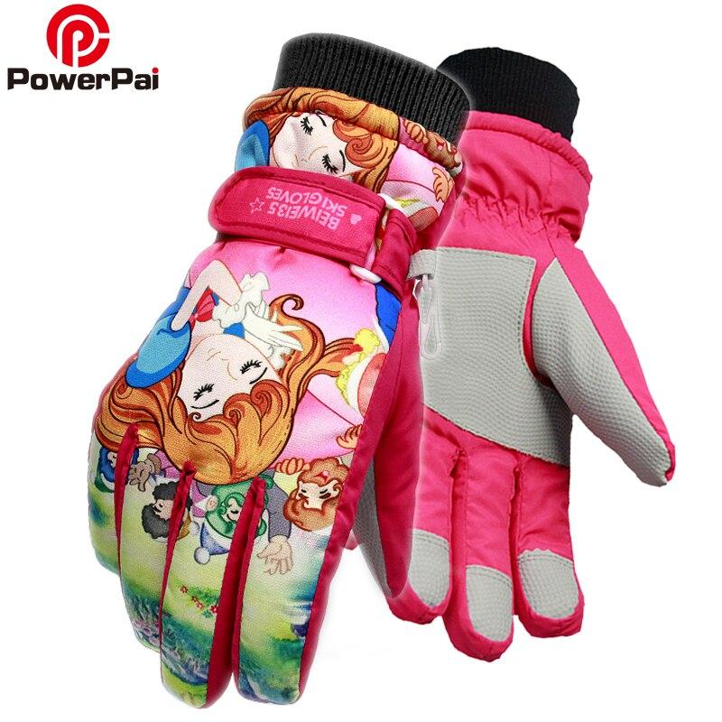 PowerPai 2018 Cute Princess Snowmobile Ski Gloves for kids Winter Snow Warm Skiing Gloves girls boys luvas White Schneewittchen