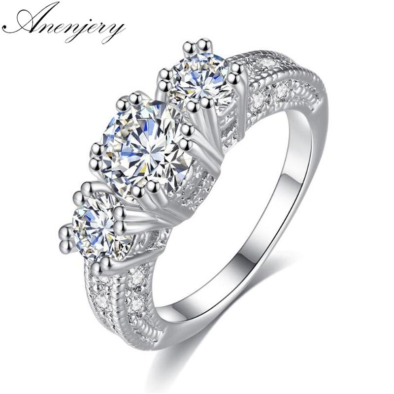 Anenjery роскошные свадебные кольца Высокое качество четыре Цвет ослепительно коготь AAA Циркон снежинка кольца для Для женщин anillos T-R37