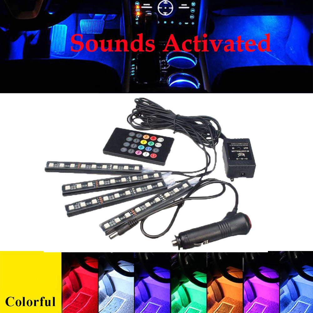 Car RGB LED Music Voice Sound Control Car Interior Decorative Atmosphere Auto RGB Pathwa ...