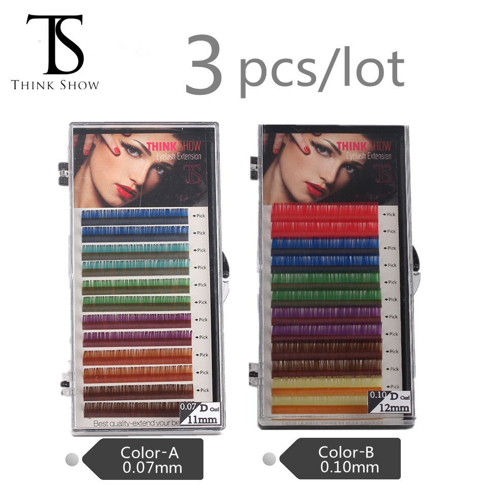 Thinkshow Rainbow Colored Eyelash Extension ,colour eyelashes,colorful eyelash extension, 3 trays set,12rows/tray, 6 Colors