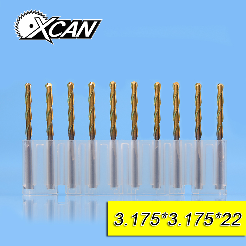 XCAN 3.175mm TICN coating spiral router bits with 12/17/22mm ball nose end mills 3.175 shank CNC milling cutter for woodworking