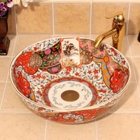 Western antique chinese ceramic colored bathroom sink hand wash bowls