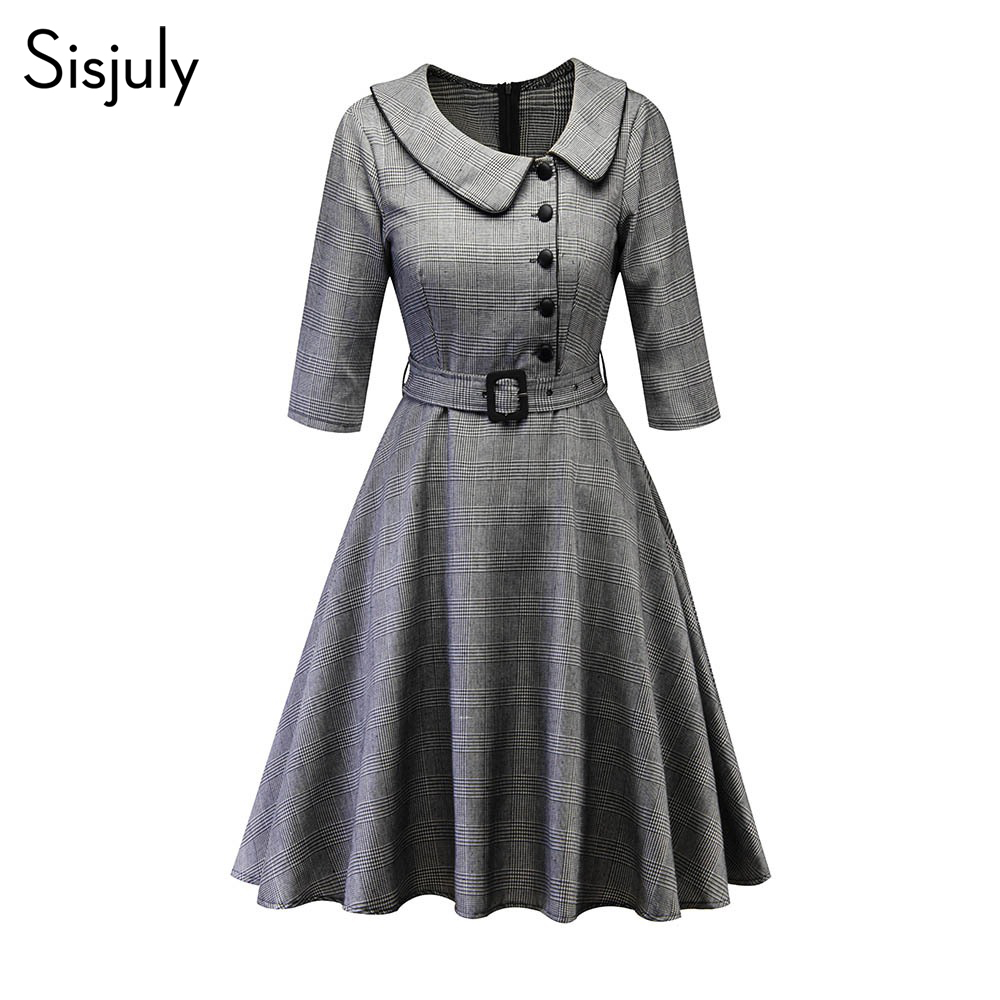 Sisjuly Vintage Plaid Swing Dress Women Waist Belt Skinny Office Lady Work Button Simple Fashion Elegant Party Autumn Dresses
